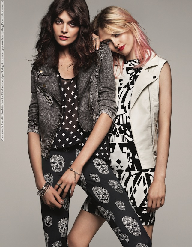 Constance Jablonski & Charlotte Free for H&M Ad campaign (Spring-Summer 2013) photo shoot by Greg Kadel